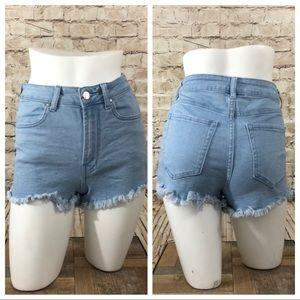 Hire rise cut off denim shorts size 25